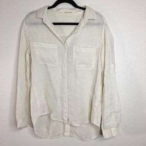 Cloth & Stone nude beige long sleeve button down